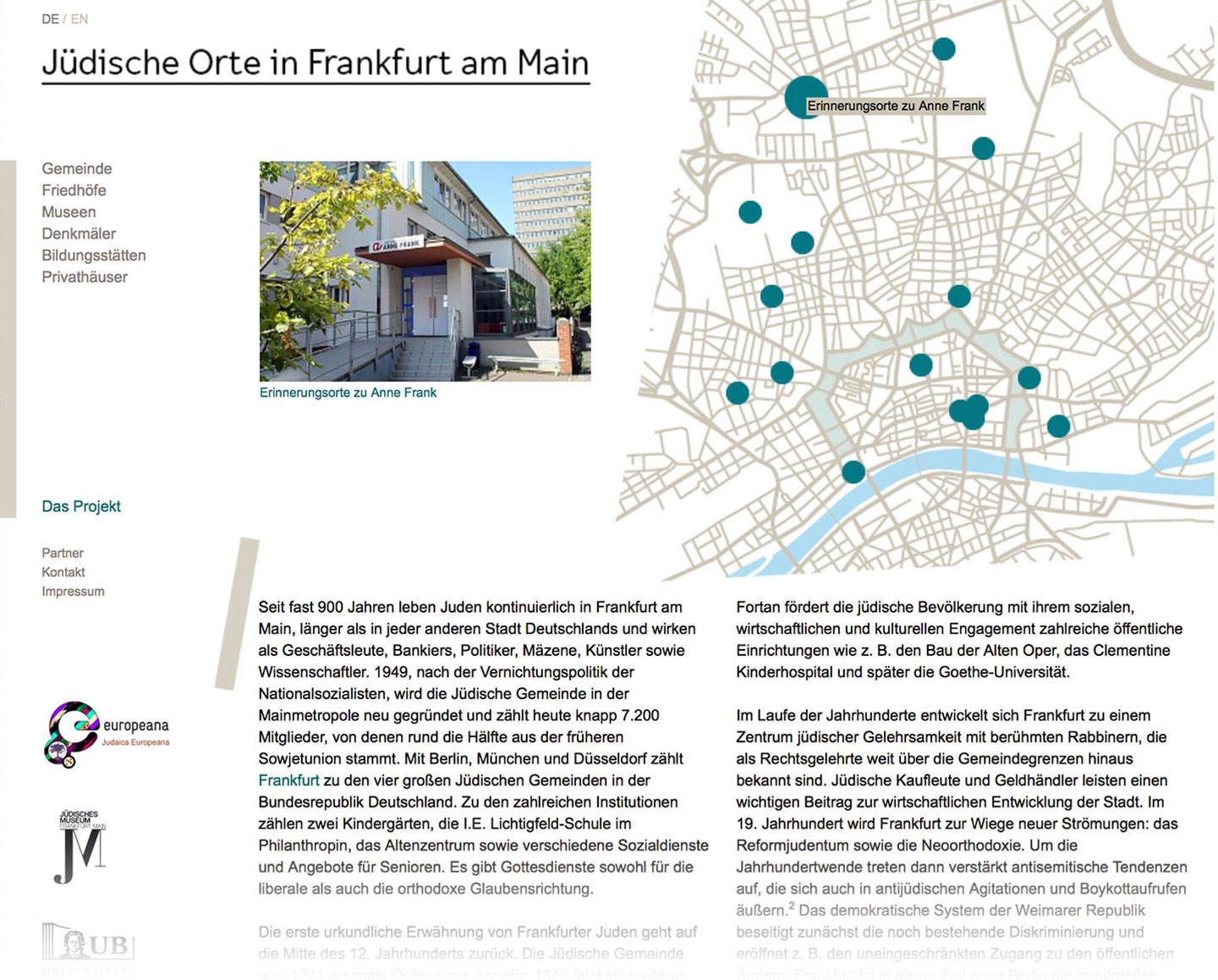 Website / Jüdische Orte in Frankfurt am Main